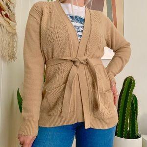 Vintage 1970s tan belted cardigan S/M